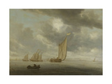 Sailing Vessels on a Inland Body of Water Prints by Salomon van Ruysdael