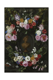 Garland of Flowers Surrounding a Bust of Flora Posters by Jan Philip Van Thielen