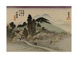 Reizgers Walk Towards a Temple Hidden Behind Trees Art by Utagawa Hiroshige