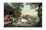 Arcadian Landscape with Shepherds and Animals Posters by Jan van Gool