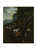 A Sherpherdess with Animals in a Mountainous Landscape Prints by Adam Pijnacker