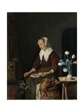 Woman Eating, known as the Cats Breakfast Print by Gabriel Metsu