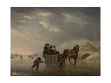 Winter Scene, Horse-Sleigh on the Ice Art by Andries Vermeulen