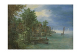 View of a Village Along a River Poster by Jan Brueghel