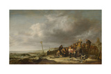 Beach with Fishermen Kunstdruck von Simon de Vlieger