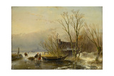 Winter Scene on the Ice with Wood Gatherers Poster by Andreas Schelfhout