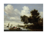 River Landscape with Ferry Print by Salomon van Ruysdael