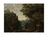 Mountainous Landscape with River Valley and Castles Prints by Jan Meerhout