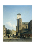 Cityscape with the Church of St Denis in Liege Print by Jan Weissenbruch