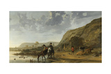 River Landscape with Riders Posters by Aelbert Cuyp