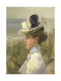 A Young Woman Looking Out over the Sea Poster by Isaac Israels