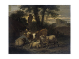 Italian Landscape with Shepherdess and Animals Prints by Simon van der Does