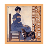 Woman Sitting on a Chair Holding a Book with a Cat Looking On Art by Edward Penfield