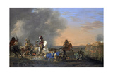 Cavalry Attack at Sunset Posters by Jan Asselijn