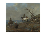 Country Road with Hunters and Peasants Print by Johannes Lingelbach
