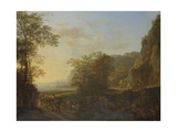 Italian Landscape with a View of a Harbor Print by Jan Both