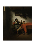 Old Woman Spinning Print by Nicolaes Maes