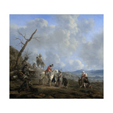 Landscape with Riders, Hunters and Peasants Prints by Johannes Lingelbach