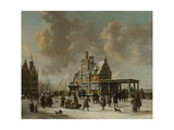 The Pole House and the New Bridge to the Ijkant Amsterdam in Winter, Seen from the Damrak Prints by Jan Abrahamsz. Beerstraten