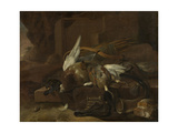 On a Stone Plinth are a Duck and a Partridge Hunting Gear Prints by Melchior d'Hondecoeter