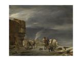 On the Ice Near a Town Print by Nicolaes Pietersz. Berchem