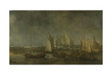Battle on the Slaak Between the Dutch and Spanish Fleets in the Night of 12-13 September Kunstdruck von Simon de Vlieger
