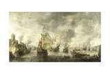 Battle of the Combined Venetian and Dutch Fleets Against the Turks in the Bay of Foya Prints by Abraham Beerstraten