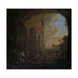 Drovers with Cattle under an Arch of the Colosseum in Rome Print by Jan Asselijn