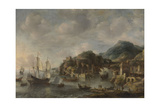 Dutch Ships in a Foreign Port Poster by Jan Abrahamsz. Beerstraten