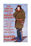On Snow Shoes to the Barren Grounds by Caspar W. Whitney. 2600 Miles after Musk Oxen and Wood Bison Print by Edward Penfield