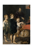 Portrait of Three Children and a Man Print by Thomas de Keyser