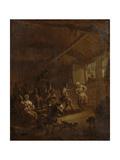 Peasants Dancing in a Barn Print by Nicolaes Pietersz. Berchem
