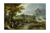 Landscape with Figures and a Village Fair (Village Kermesse) Kunstdrucke von Adriaen Pietersz van de Venne