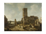 Ruins of the Old Town Hall of Amsterdam after the Fire of 7 July Prints by Jan Abrahamsz. Beerstraten