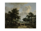 Wooded Landscape with Merrymakers in a Cart Pósters por Meindert Hobbema