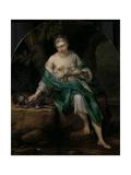 A Woman with a Dog Prints by Herman van der Mijn
