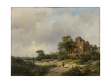 Landscape with the Ruins of Brederode Castle in Santpoort Print by Andreas Schelfhout