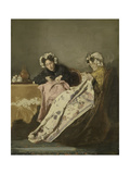 Two Ladies at their Sewing Print by Alexander Hugo Bakker Korff