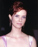 Cynthia Nixon Posed in Violet Dress with earrings Photo by  Movie Star News