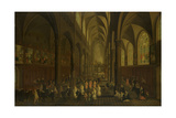 Interior of the Dominican Church in Antwerp Print by Pieter Neefs