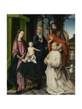 Virgin and Child Enthroned, with Saints Jerome and John the Baptist and a Carthusian Monk Posters by Jan Provoost