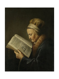 Old Woman Reading Print by Gerard Dou