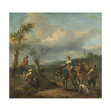 Italian Landscape with Travellers with Wine Casks Print by Johannes Lingelbach