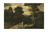 Landscape with Hunters Poster by Jacob Esselens