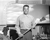 Burt Lancaster in a Printed Long Sleeve Holding a Long Steel Photo by  Movie Star News