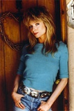Rebecca Demornay Finger in Pocket Pose wearing Blue Sweater Photo by  Movie Star News