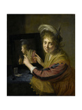 Girl at the Mirror Prints by Paulus Moreelse