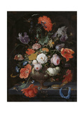 Still Life with Flowers and a Watch Poster by Abraham Mignon