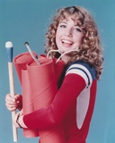 Dana Plato smiling in Red Sleeves with Dynamites Photo by  Movie Star News