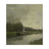 Two Barges Along the Shore of a Barge Canal Prints by Anton Mauve